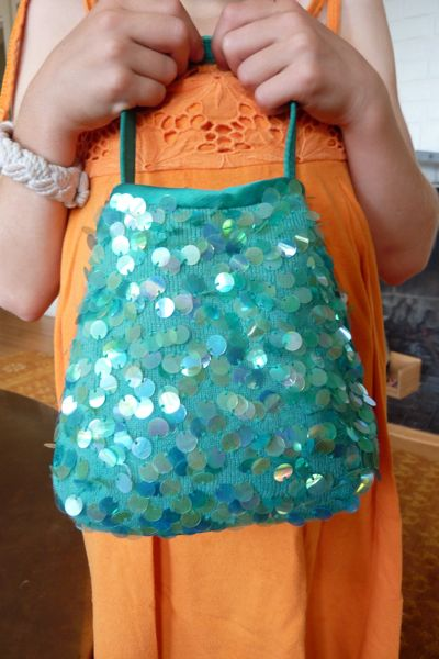 sequined handbag