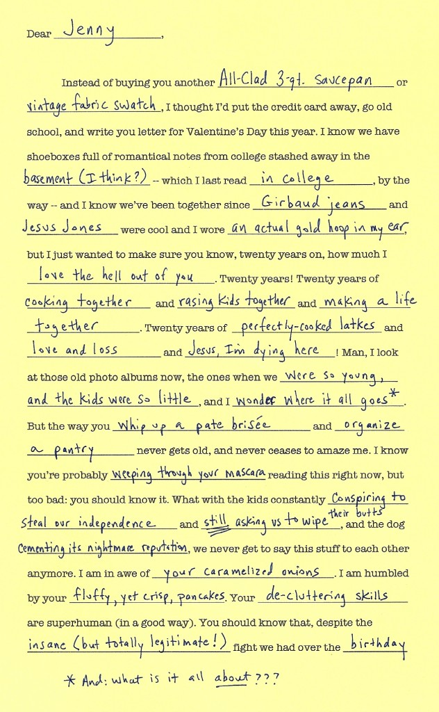 Mad Lib Love Letter Archives Dinner A Love Story