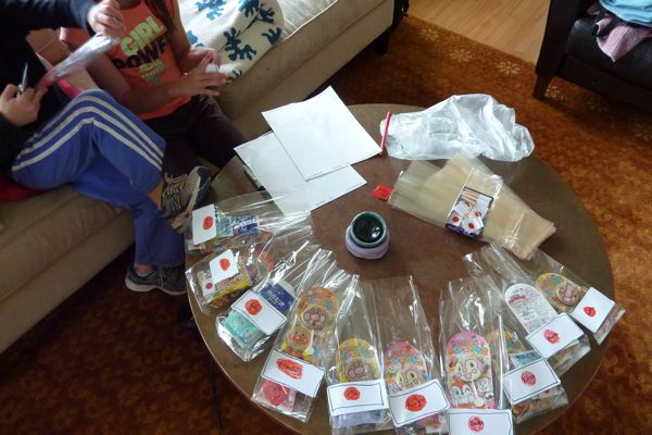The Girls Helped Assemble Goody Bags