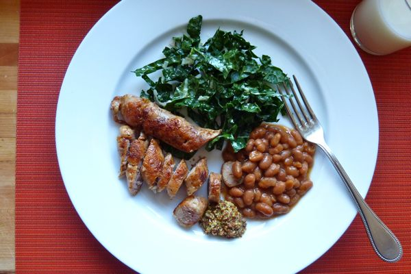 sausage kale baked beans