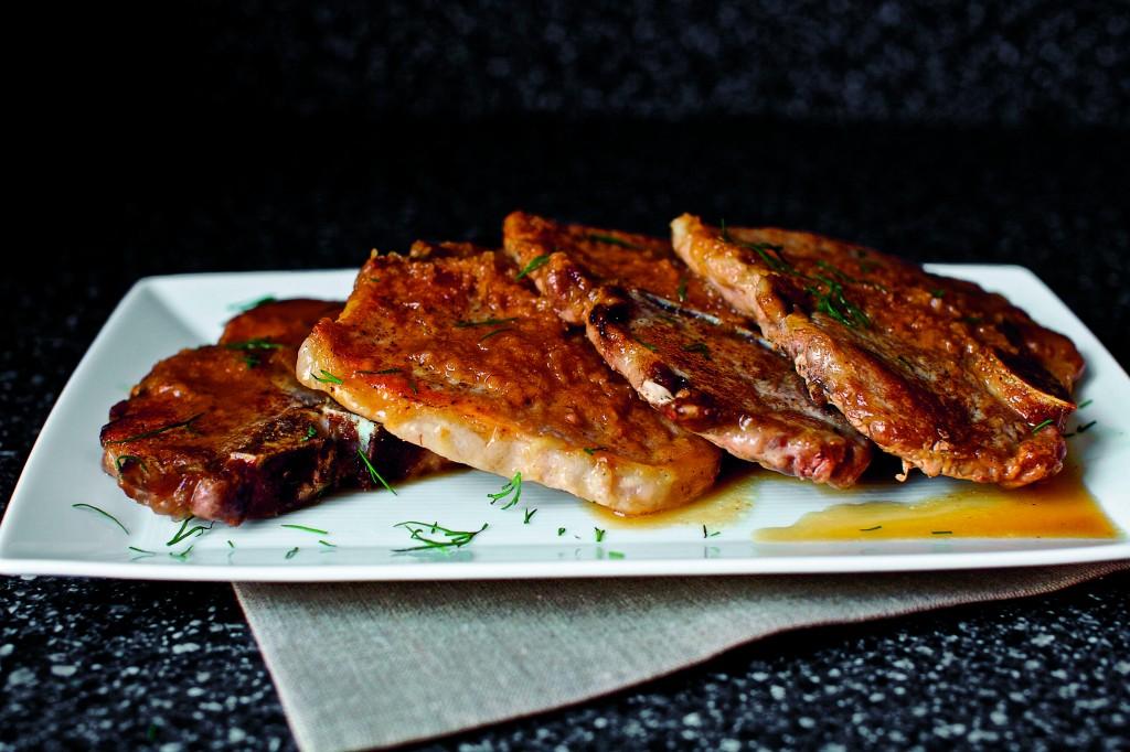Dinner: A Love Story pork chops with dill horseradish