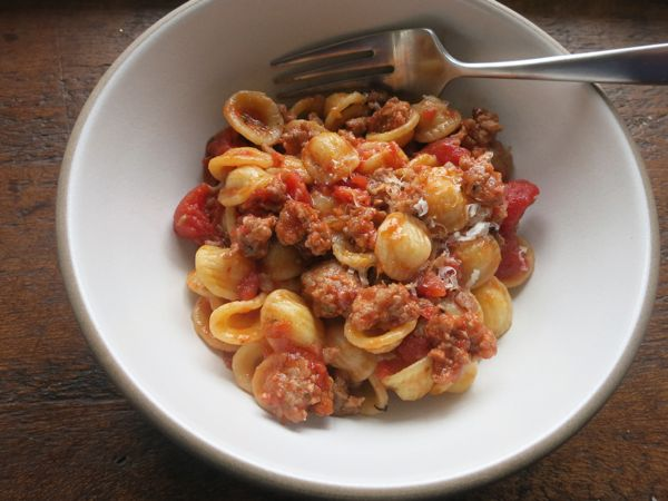 Dinner: A Love Story Orecchiette with Sweet Sausage Bolognese